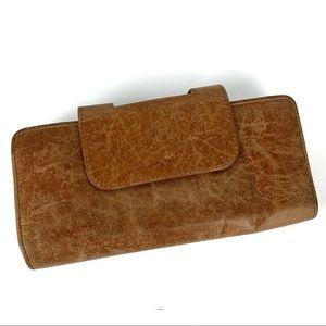 HOBO Brown Leather Nancy Clutch Kiss Lock Wallet